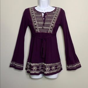 INC Purple Silver Embroidered Top Petite